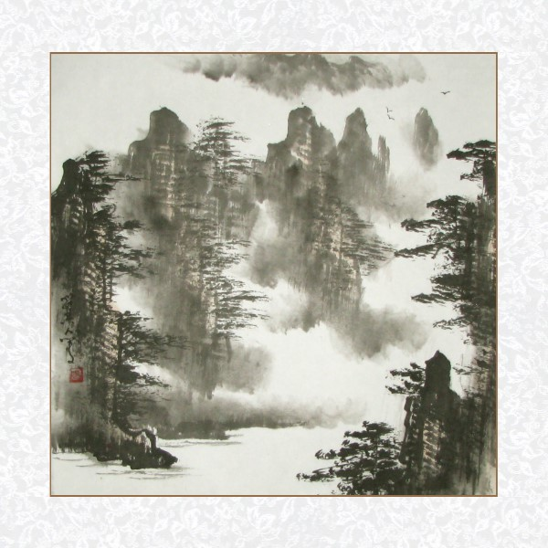 Mountain River Black Ink Landscape Painting