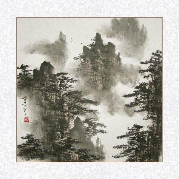 Landscape Painting of Birds Soaring Above the Yellow Mountains