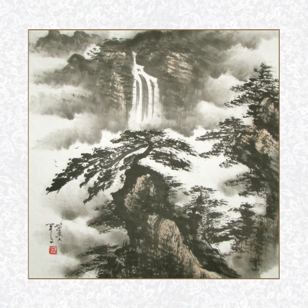 Yellow Mountains Waterfall Black Ink Landscape Painting