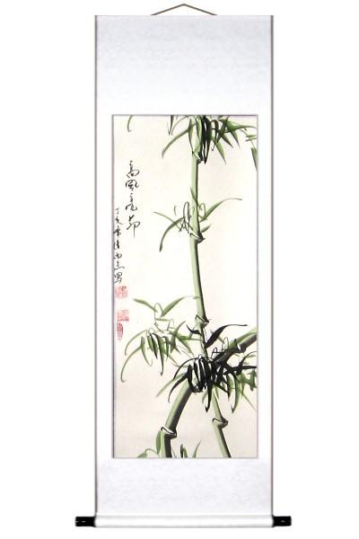 Green Bamboo Wall Scroll Painting