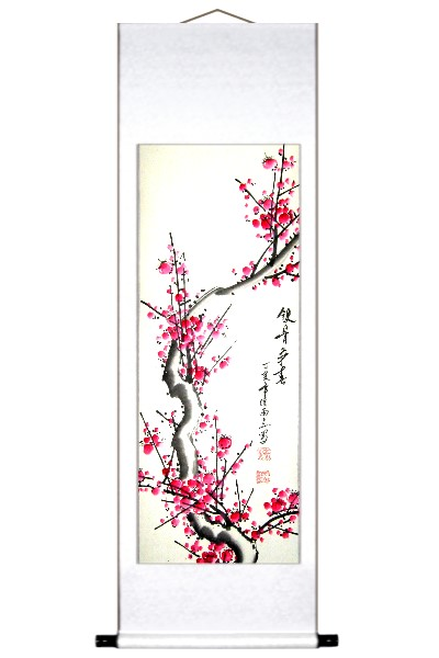 Red Plum Blossoms Asian Art Scroll