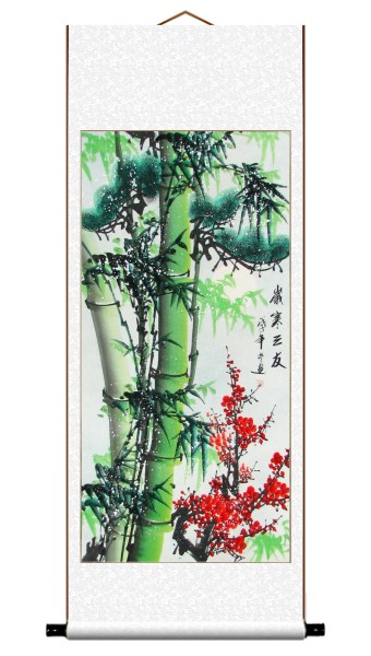 Three Friends of Winter Asian Scroll Painting