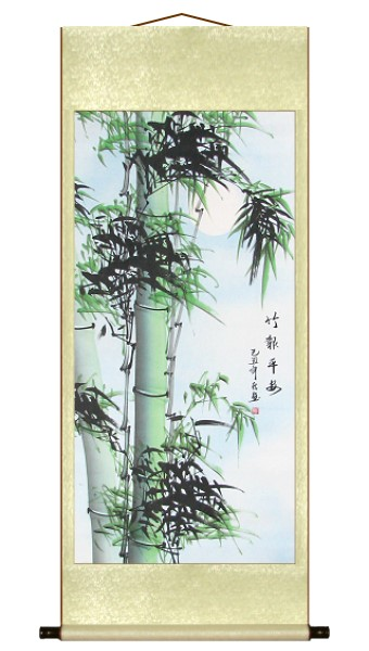 Modest Green Bamboo Wall Scroll Painting