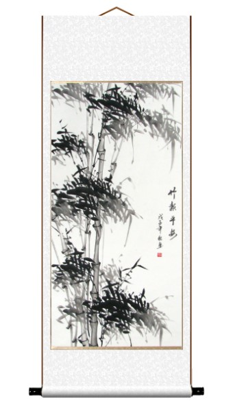 Black Bamboo Asian Art Scroll Painting