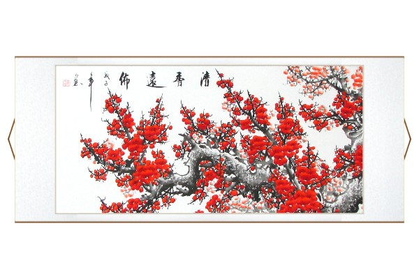 Red Plum Blossoms Asian Wall Scroll Painting