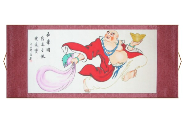 Happy Buddha of Wealth Scroll Painting