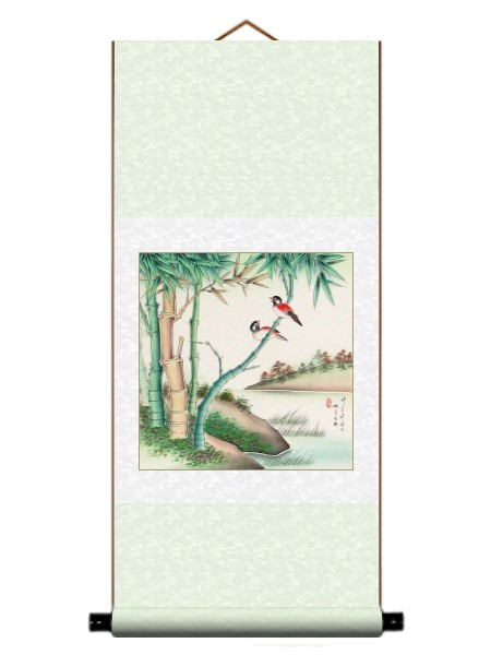 Red Birds and Bamboo Wall Scroll Painting