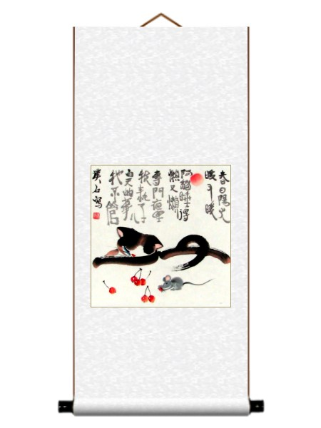 Cat Sleeping Asian Wall Scroll Painting