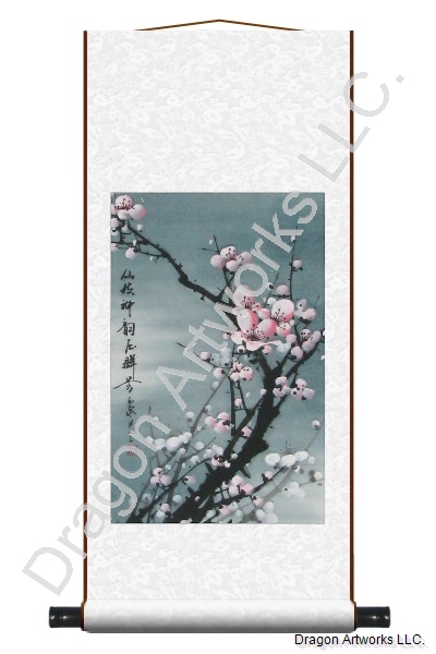 Midnight Pink Plum Blossoms Wall Scroll Painting