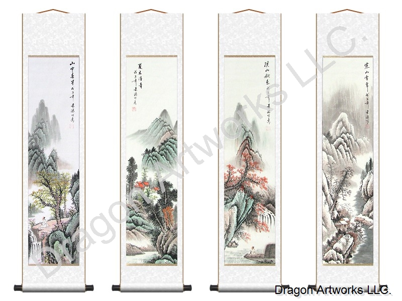 Four Seasons Mountain Landscape Scroll Painting Set