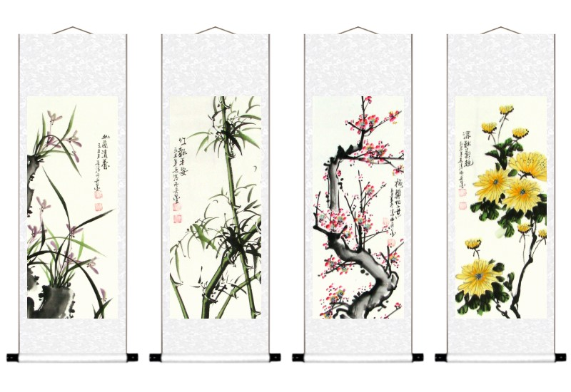 Four Noble Plants Wall Scroll Painting