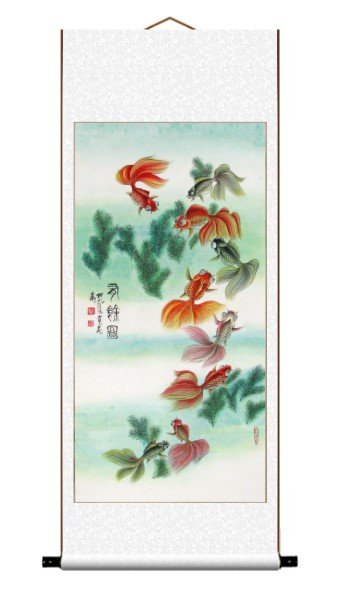 Nine Auspicious Fish Wall Scroll Painting