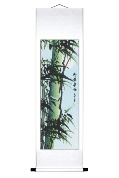 Large Wind Blown Green Bamboo Scroll Painting