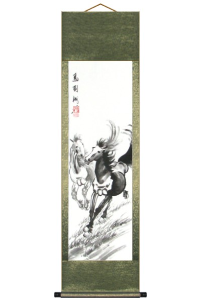 Two Horses Galloping Asian Wall Scroll Painting