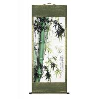 Sturdy Green Bambbo Asian Wall Scroll