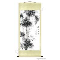 Asian Art Black Bamboo Wall Scroll Painting