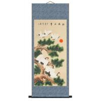Asian Brush Painting of Cranes Dancing in Pine Trees