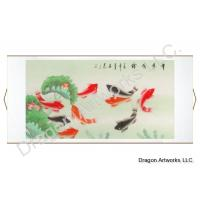 Asian Art Black Nine Fish Wall Scroll Painting